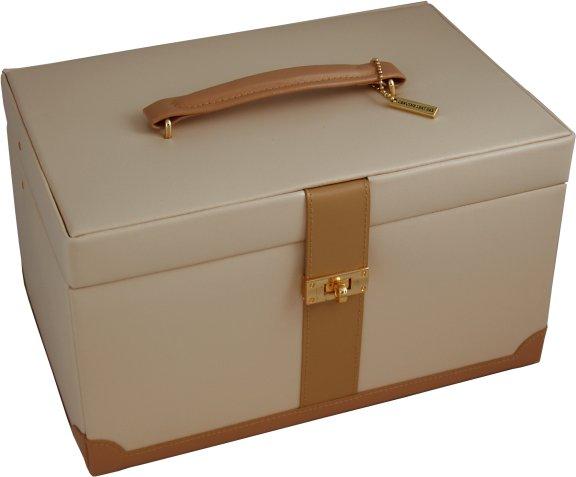 Large Cream & Tan Leather Jewellery Boxes & Large Leather ...