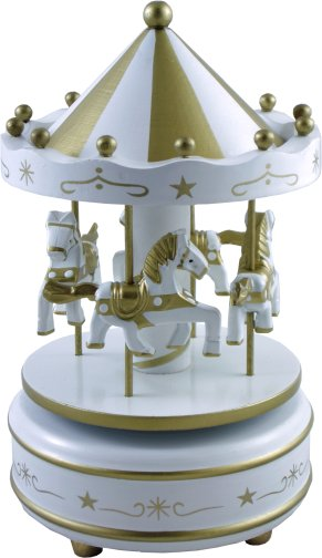 Charm White Amp Gold Magical Musical Carousel Wooden