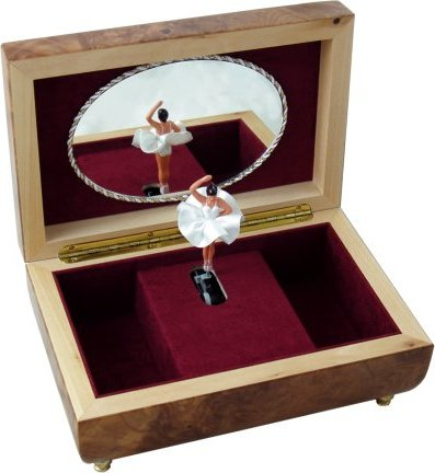 Wooden Inlaid Ballerina Musical Jewellery Boxes Hand Crafted