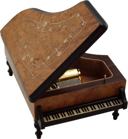 Grand Piano Musical Jewellery Box in Burr Elm Mamma Mia Music Boxes