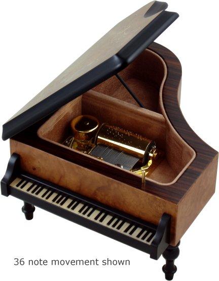 Grand piano musical jewellery box in burr elm mamma mia for Small piano dimensions